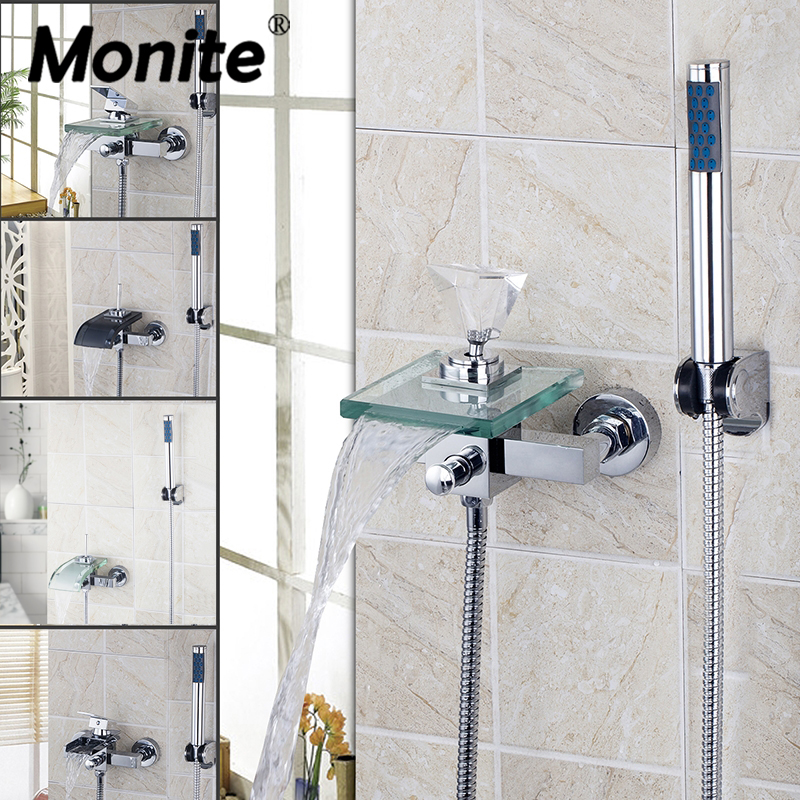 Monite Waterfall Glass Bathroom Shower Faucet Solid Brass Bath Faucet Mixer Tap With Hand Shower Head