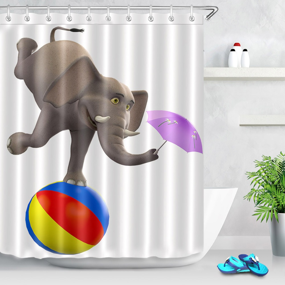 Lb 72 Circus Elephant Show Ball Funny White Shower Curtains Washable Waterproof Polyester Bathroom Curtain Fabric For Bathtub In From Home
