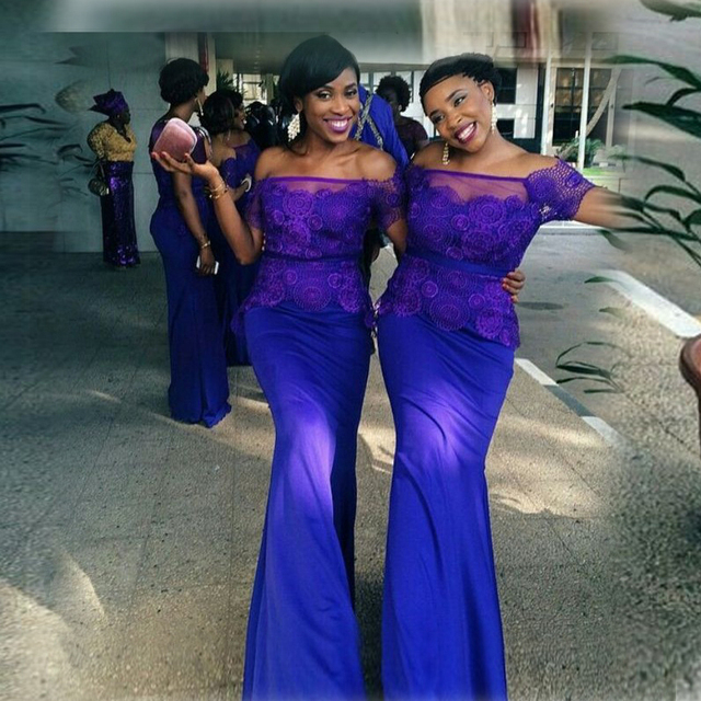 ea129d335b African Style Bridesmaid Dresses Strapless Cap Sleeve Mermaid Floor Length  Lace Applique Purple Long Bridesmaid Dress
