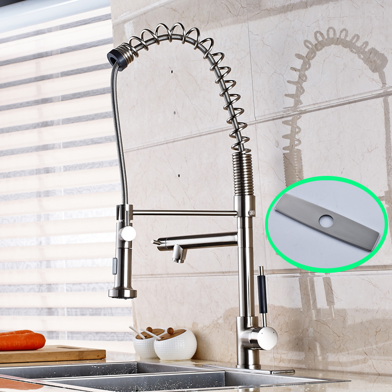 Wholesale and Retail 75cm Nickel Brushed Deck Mounted 360 Degree Rotation Kitchen Sink Faucet nickel brushed deck mounted kitchen sink faucet 360 degree rotation pull out mixer tap with cover plate