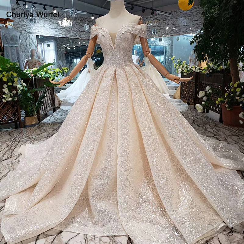 LS11507 Shiny Wedding Dresses Champagne Off The Shoulder V- Neck Short Sleeves Bridal Dresses Ball Gown Laced Up Back Gown 2019