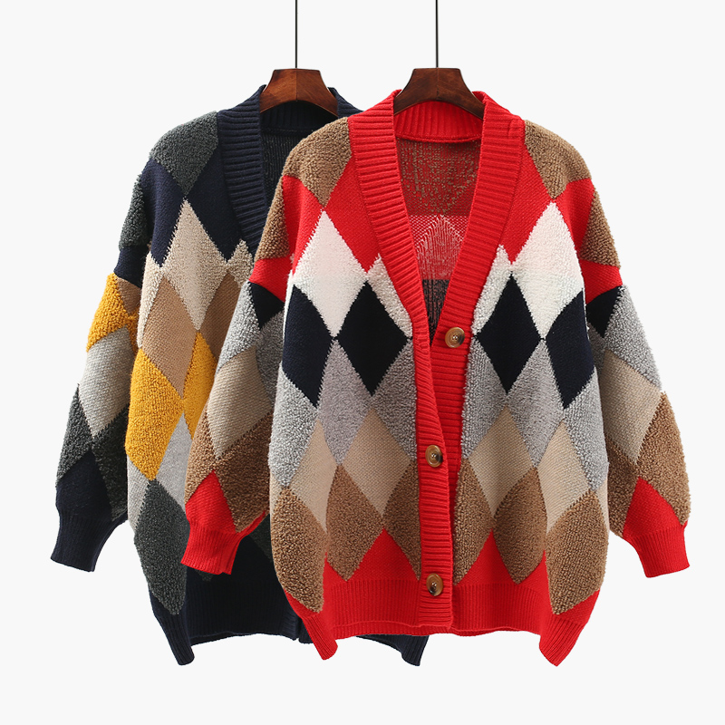 Viento Tops Chaquetas Mujeres Suéter Coat Femenina Bolsillo Red Invierno Nueva Primavera Gruesa Punto 2018 blue Cardigan De Plaid Sueltan qAZwtaIIng