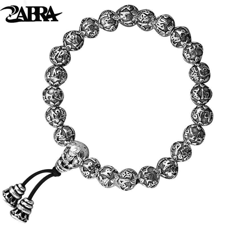 ZABRA 100% 990 Sterling Silver Handmade Vintage Tibetan Buddhism Rope Bracelet Men Women Six Words Mantras Bead Bracelet Jewelry 16mm round sandalwood thai silver beads bracelet for women buddhism six letter scripture women men fine silver 990 jewelry sb69