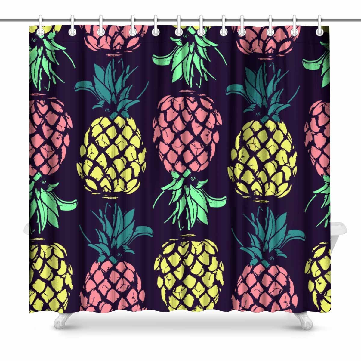 Botanical Flamingo Shower Curtain Colorful Pineapple