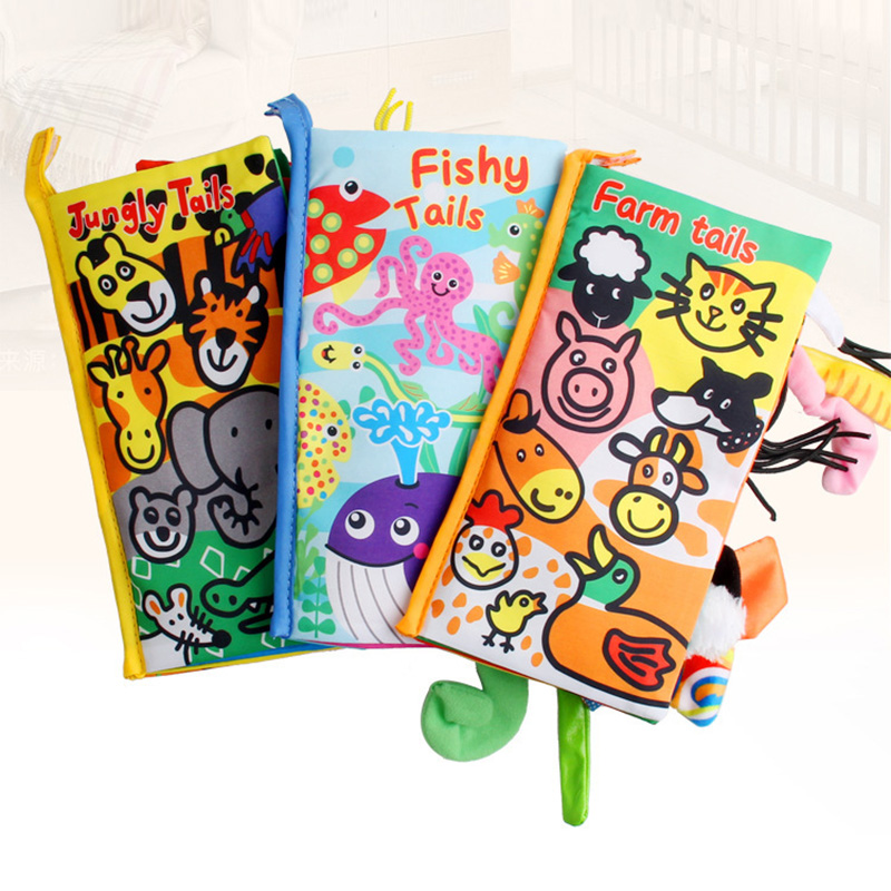 Baby Infant Toys Baby Cloth Book Early Learning Educational Toys with Animals Tails English Story Soft Cloth Development BooksBaby Infant Toys Baby Cloth Book Early Learning Educational Toys with Animals Tails English Story Soft Cloth Development Books