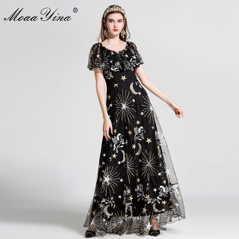 MoaaYina Fashion Designer Runway Dress Summer Women Short sleeve Mesh Gold Line Embroidery Casual Sexy Party
