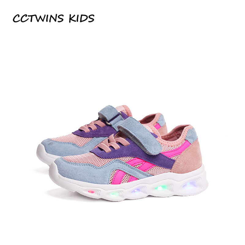 CCTWINS KIDS 2018 Spring Baby Boy Fashion LED Light Shoe Children Mesh Breathable Trainer Girl Brand Sport Sneaker F2206