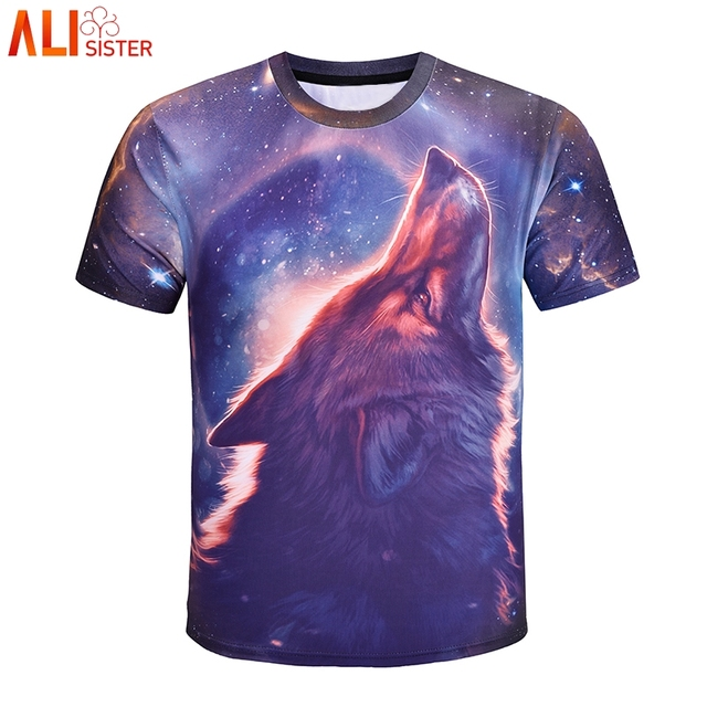 7a5b2cd1d17 Alisister Galaxy Wolf T Shirt Summer Men Women Plus Size Cool Tee Shirts  Ice Wolf Short Sleeve Tops Tee Homme De Marque Dropship