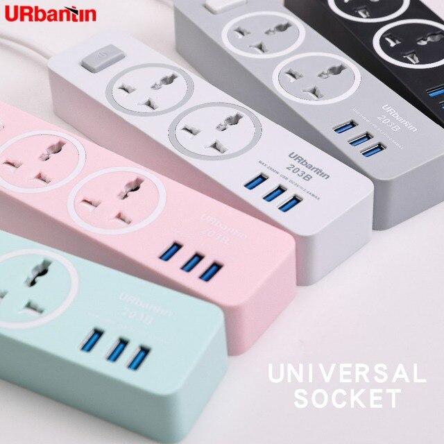 Urbantin regleta de alimentación USB de línea extendida, enchufe inteligente para hogar, enchufe Universal, adaptador de viaje para UE, AU, Reino Unido y EE. UU.