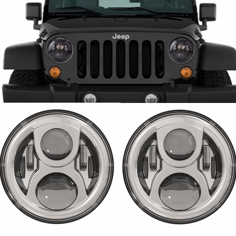 Black Chrome LED Headlight 7 Round LED Headlight Offroad Light Hi Lo Beam For Jeep Wrangler