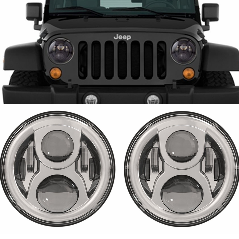 Black / Chrome LED Headlight 7 Round LED Headlight Offroad Light Hi/Lo Beam For Jeep Wrangler TJ LJ JK Defender 4x4 off roadBlack / Chrome LED Headlight 7 Round LED Headlight Offroad Light Hi/Lo Beam For Jeep Wrangler TJ LJ JK Defender 4x4 off road
