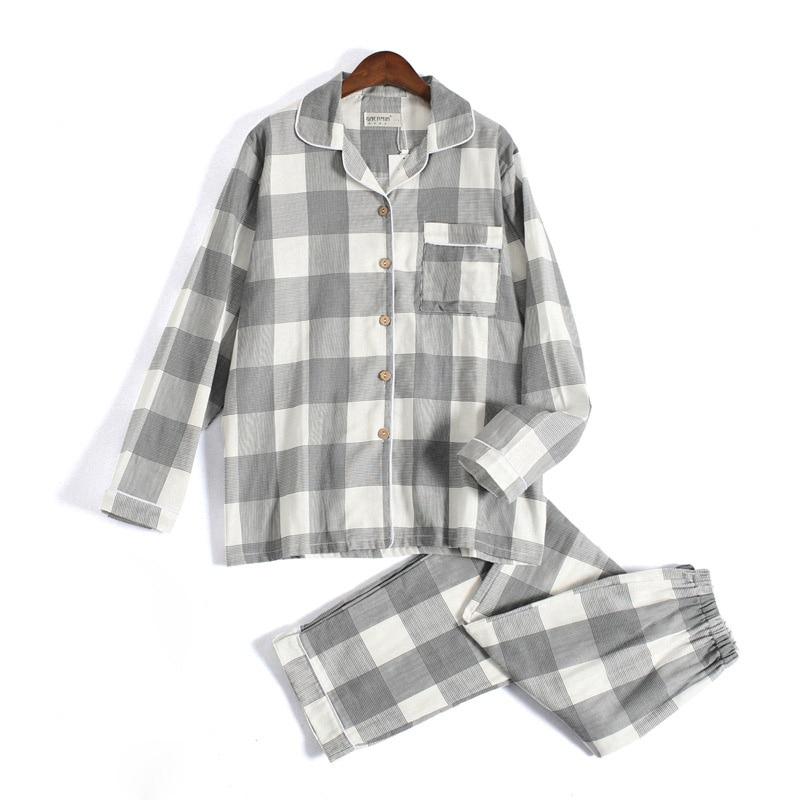 Fresh Plaid 100% Gauze Cotton Lovers Pajama Sets Women Autumn Long Sleeve Casual Sleepwear Women Pyjamas Femme