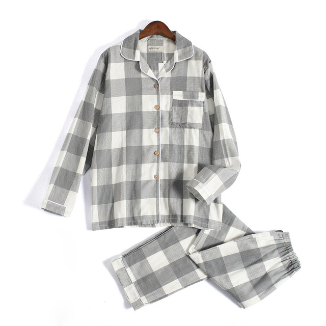 Fresh plaid 100% gauze cotton lovers pajama sets women and men  Autumn long sleeve casual sleepwear women pyjamas