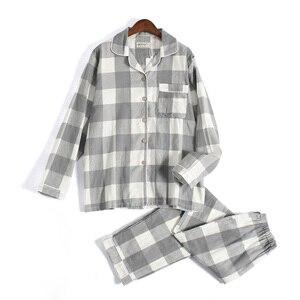 Image 1 - Tươi Kẻ Sọc 100% Gạc Cotton Người Yêu Pyjama Bộ Nam Nữ Thu Đông Dài Tay Nhật Bản Cổ Đồ Ngủ Nữ Pyjamas