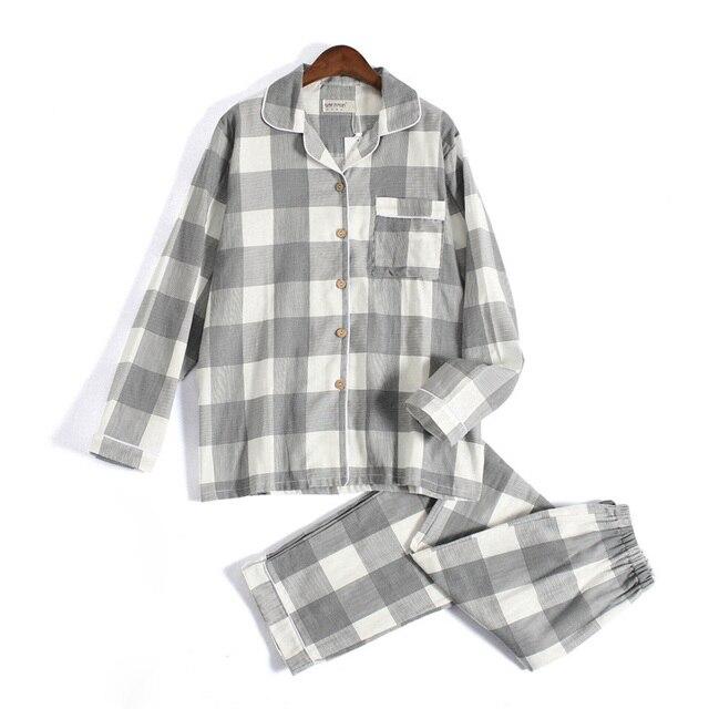 Tươi Kẻ Sọc 100% Gạc Cotton Người Yêu Pyjama Bộ Nam Nữ Thu Đông Dài Tay Nhật Bản Cổ Đồ Ngủ Nữ Pyjamas