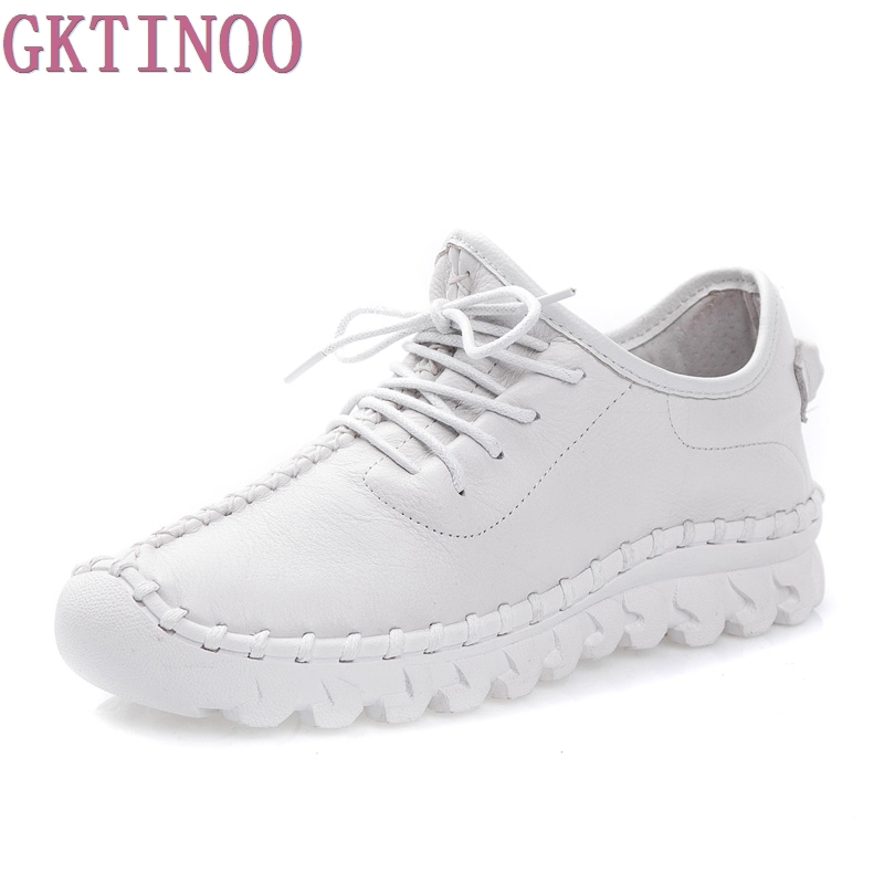 2019 Women s Handmade Shoes Genuine Leather Flat Lacing Mother Shoes Woman Loafers Soft Single Casual