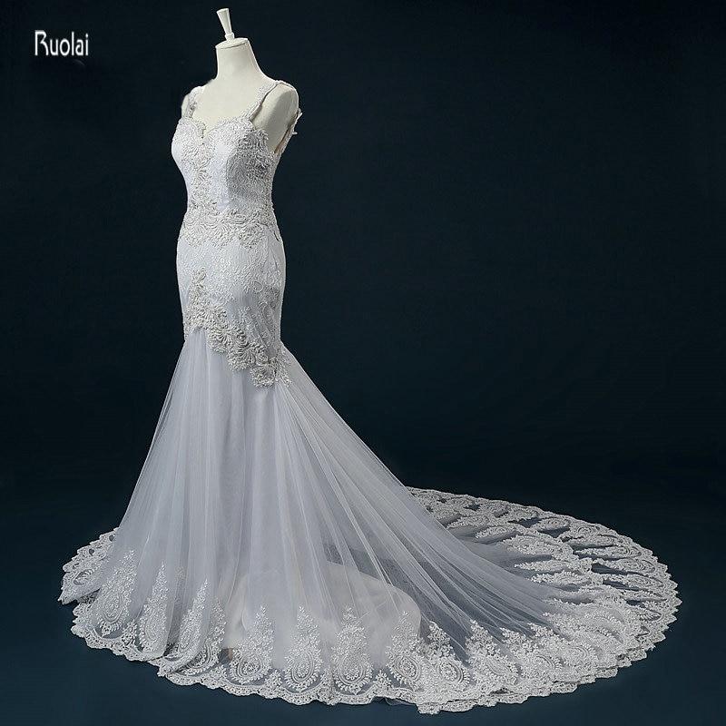 2017 vestido de noiva Impresionante sirena vestidos de novia apliques perlas de novia de encaje vestidos de novia espalda abierta por encargo