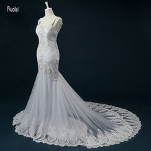 Ruolai vestido de noiva Mermaid Wedding Dresses Open Back