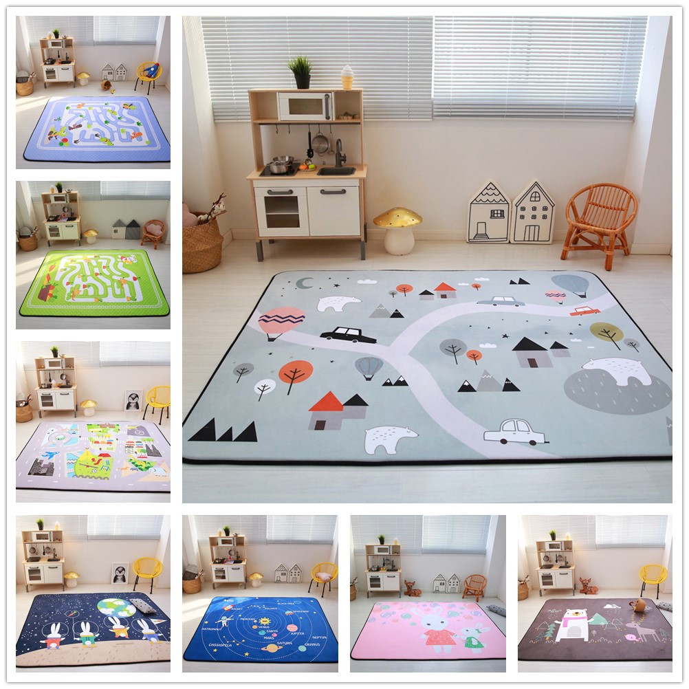 Cartoon Animals/Runway/Star Carpet Kids Room Soft Fleece Bedroom Carpet Sofa Living Room Rug Children Crawling Tatami Floor Mat