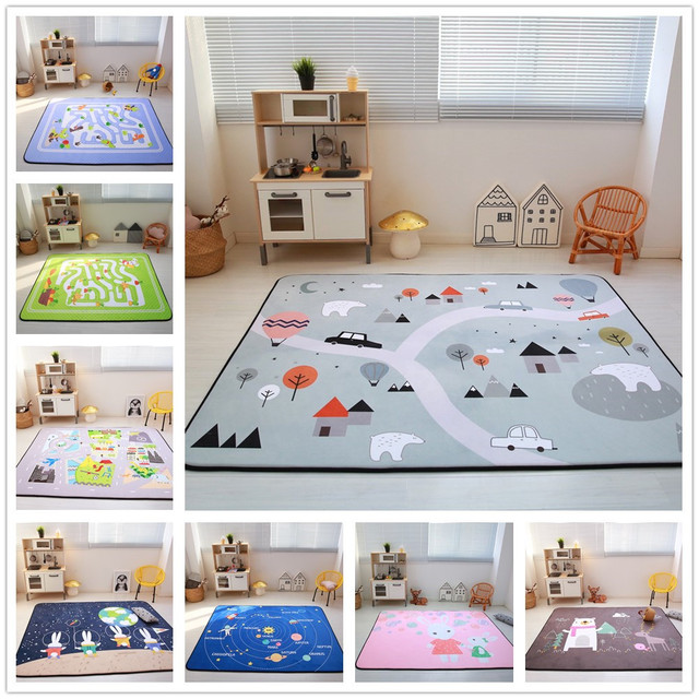 Cartoon Animals Runway Star Carpet Kids Room Soft Fleece Bedroom Sofa Living