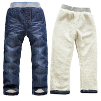 BibiCola Baby Boys Girls Winter Denim Jeans Children Girls Boys Thicken Warm Jeans Kids Winter Long