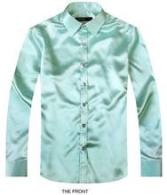 2017 Light Green Luxury the groom shirt male long sleeve wedding shirt men's party Artificial silk dress shirt M-3XL 21 colors F