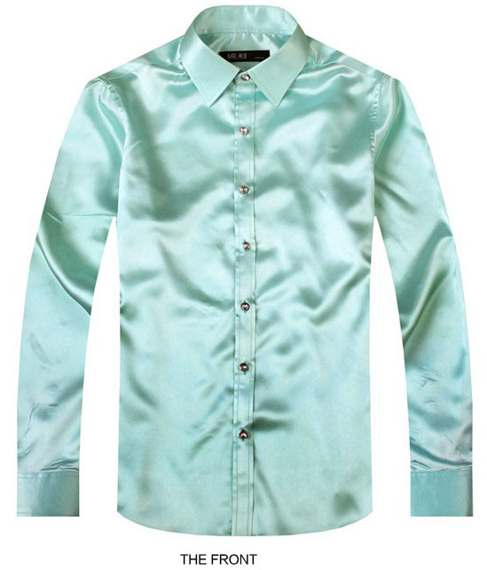 2017 Light Green Luxury the groom shirt male long sleeve wedding shirt men's party Artificial silk dress shirt M-3XL 21 colors F