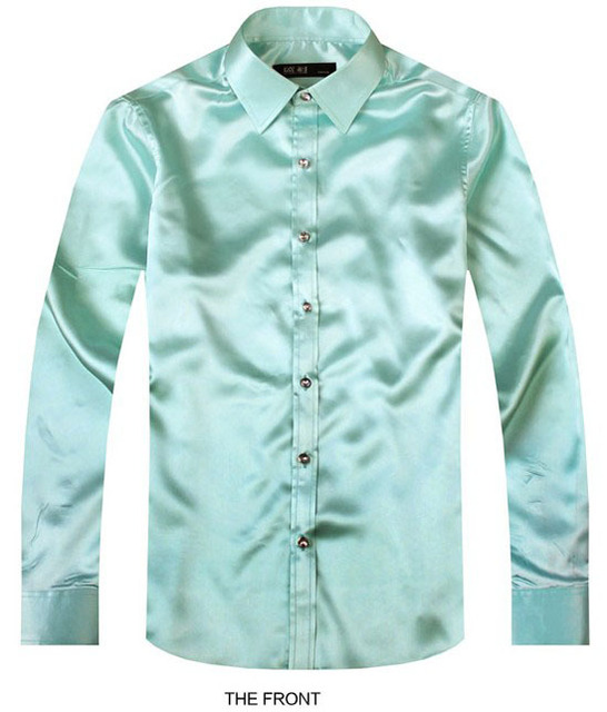 3d028f30971579 2017 Light Green Luxury the groom shirt male long sleeve wedding shirt  men s party Artificial silk dress shirt M-3XL 21 colors F