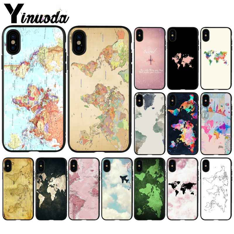Yinuoda Travel in the world map Plane plans Black TPU Silicone Phone Cover for iPhone X XS MAX  6 6s 7 7plus 8 8Plus 5 5S SE XR
