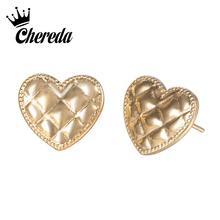 Chereda Golden Heart Stud Earring for Women Classic Tiny Geometric Female Earrings Birthday