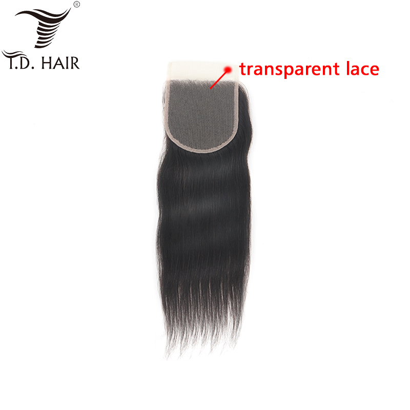 Tdhair Straight Free Part Transparent 4*4 Lace Closure Unprocessed Virgin Human Hair For Women Swiss Lace Closure