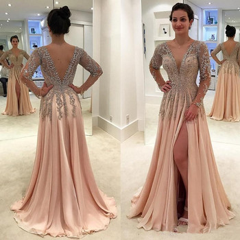 Gorgeous Crystals Backless Dresses Evening Wear Deep V Neck Beaded Prom Gowns Floor Length A Line Chiffon Split Side Formal Dre gorgeous coral mermaid prom 2019 new v neck luxury crystal tulle beaded backless sequin long formal gowns bridesmaid dresses