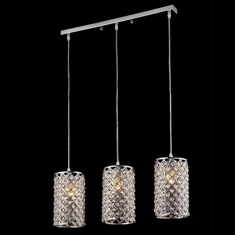 MAMEI Free Shipping  Cylinder Modern Crystal Pendant Lamp With Gold Finish And Chrome Finish free shipping chrome finish modern wall lamp bedroom sconce with cylinder crystal lamp shade
