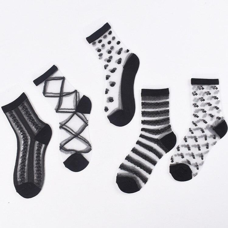Sexy Lace Mesh Silk Fishnet Socks Fiber Transparent Stretch Elasticity Ankle Net Yarn Thin Women Cool Socks 1pair=2pcs Ws408