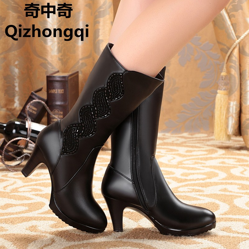 2017 winter genuine leather women boots wool lined female high heeled boots designer rhinestones women s