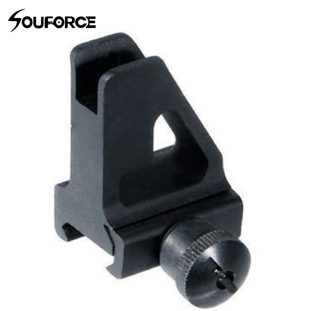 Black Metal High Profile Quick Detachable Front Iron Sight 20mm Picatinny/Weaver Rail Mount With Adjustable A2 Square