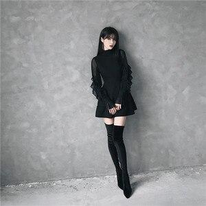 Image 5 - Ruibbit Mini robe gothique pour femme, Punk, tenue tendance, haute qualité, à manches longues, sexy, noir, printemps automne nouveauté