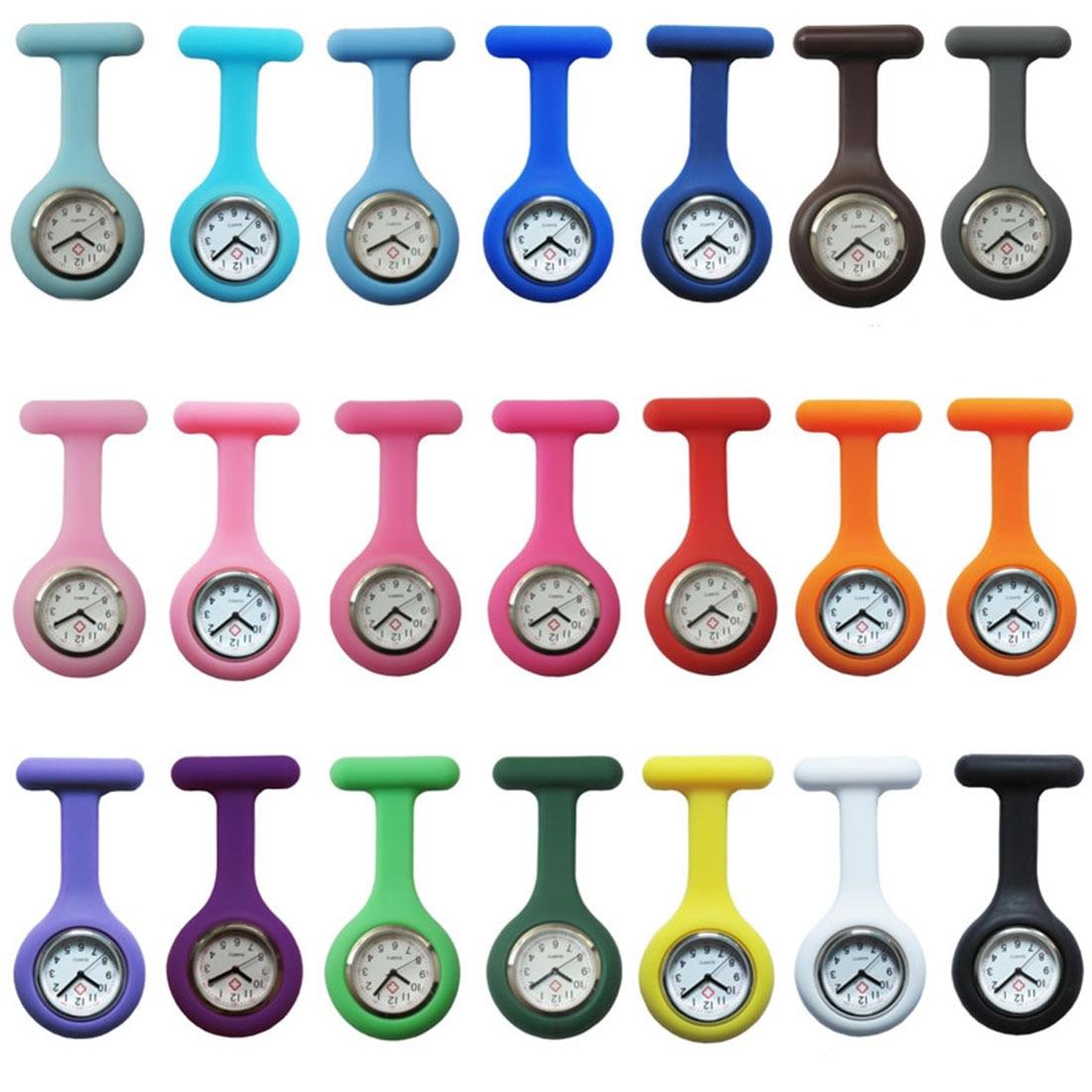 5PCs/Lot Pocket Watch Clip-On Fob Quartz Brooch Hanging Rubber Silicone Nurse Watch Fashion Casual Men Women Relogio Feminino