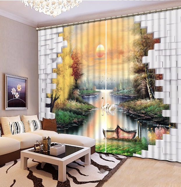 Personalizado 3d cortinas para sala de estar cortinas for Pittura salone