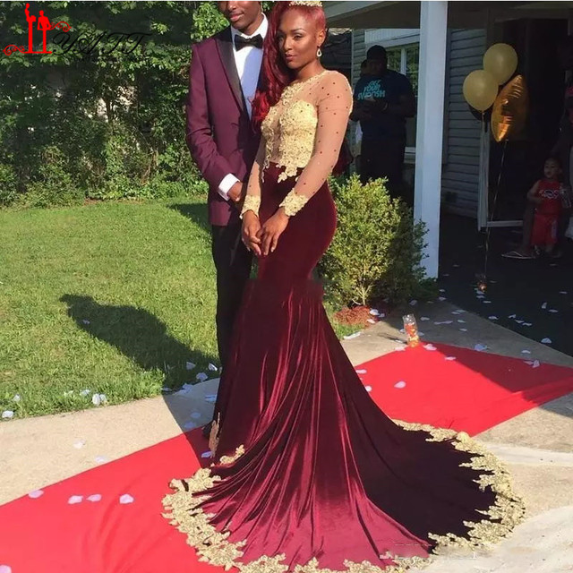 041a5979bc1 African Black Girl Burgundy Velvet Evening Dress 2017 Beaded Gold Lace Sexy  Mermaid Prom Dresses Formal Long Sleeves Party Gowns
