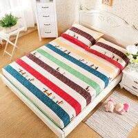 100% ٪ الحديثة ملكة ملاءة سرير نوم الكرتون الحيوانات الملونة مخطط نمط مطاطا شرشف غطاء فراش