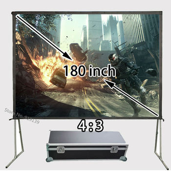 Professional Factory Quality HD Projection Screen 180 inch 4:3 Front Matt White Screens With Strong Floor Stand Support 3D 4K