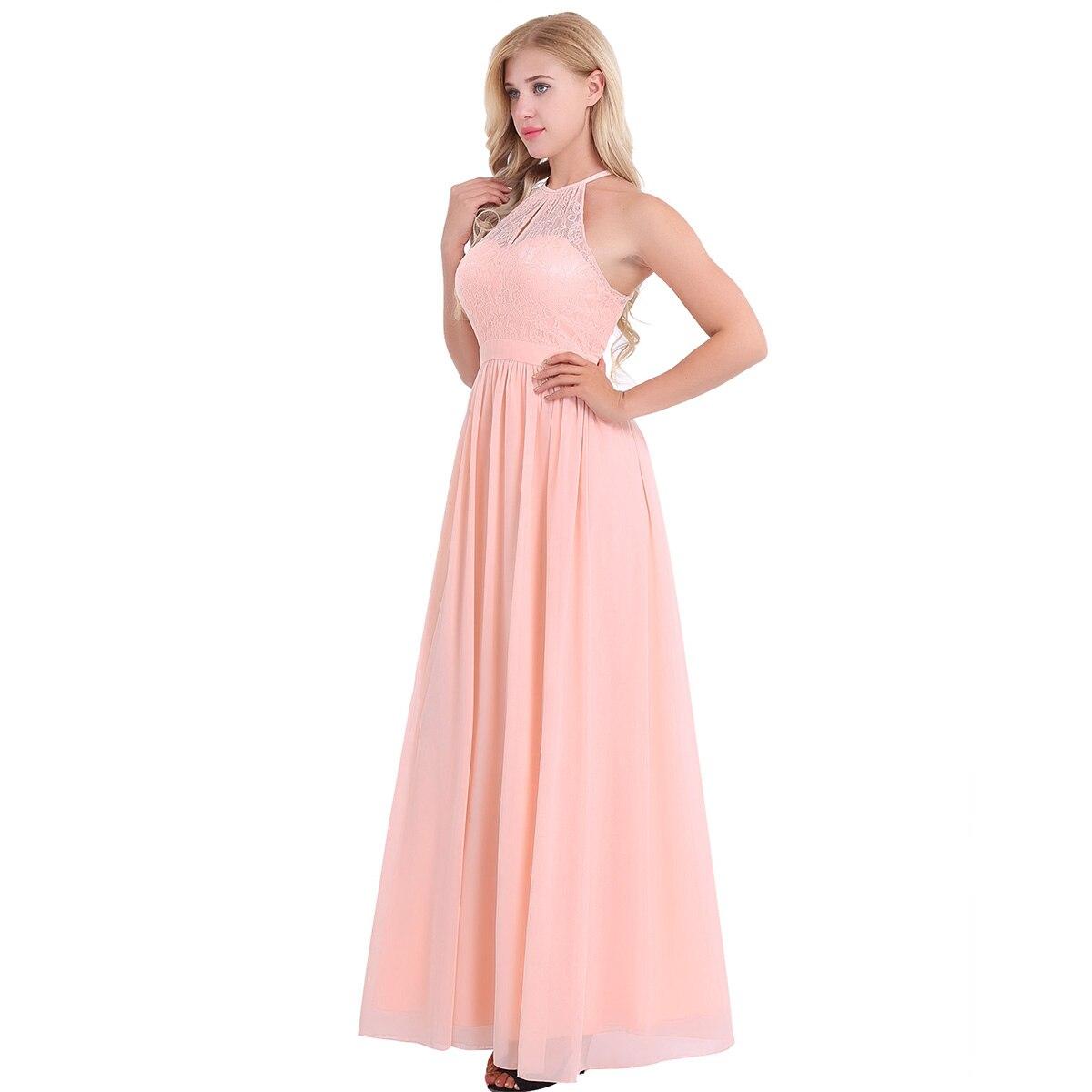 Image 3 - Women Ladies Neckline Halter Lace Floral Sleeveless Chiffon Dress Elegant Birthday Party Weeding Prom Gown First Communion Dresschiffon dressdress elegantelegant dress -