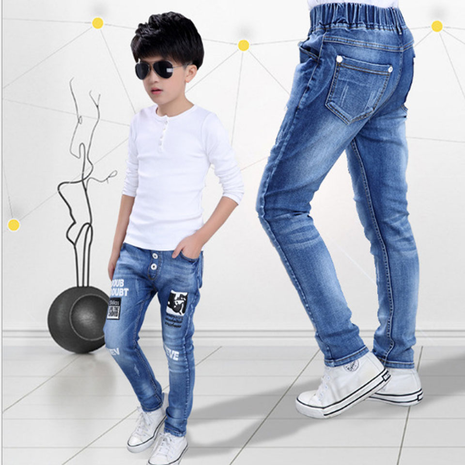 For 4-15 Years Top Quality Kids Boys Jeans Pants Autumn S Fashion Designer Trousers Boy Denim Pants Casual Solid Jeans summer flat sandals female gladiator sandals basic slippers stripe flat heel anti skidding beach shoes sandalias