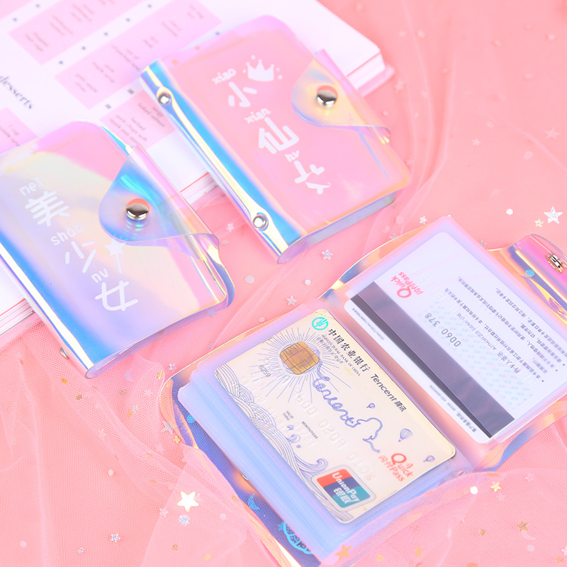 Women Card Holder Wallet ID Holders Female Student Cardholder for Lolita Cute Star Transparent Laser Bank Credit Card Case image