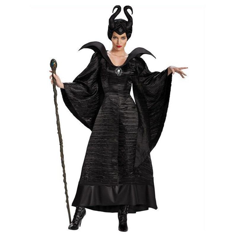 Più il Formato Fiaba Nero Sexy di Sonno di Bellezza Strega Queen Malefica Costumi Adulti di Halloween Delle Donne Del Partito di Cosplay del Vestito Operato