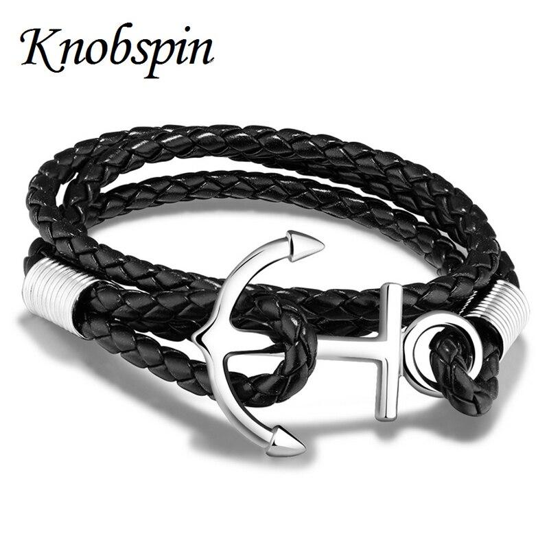 2017 Europe fashion Stainless Steel Navy Anchor Bracelet Men Jewelry Retro Genuine Braided Leather Braided Bracelets Pulsera stylish anchor colorful braided bracelet