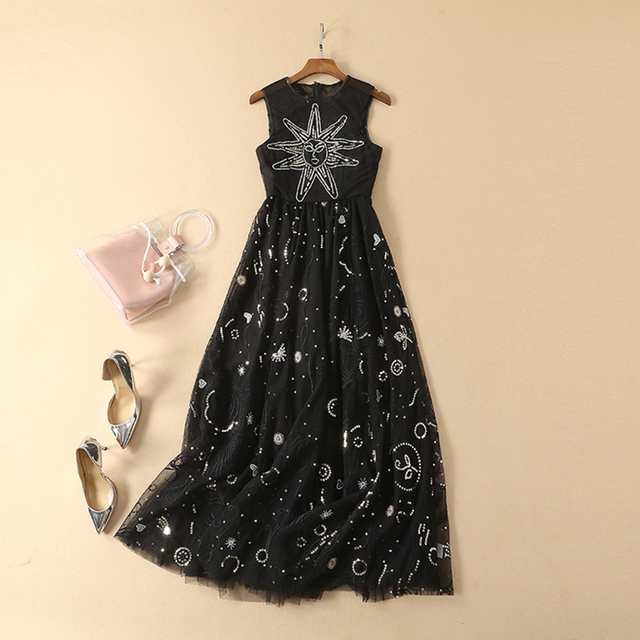 e47a7578bc68d US $76.49 15% OFF|HIGH QUALITY Newest Fashion Runway 2019 Designer Dress  Women's Sleeveless Stunning Embroidery Sequined Gauze Dress-in Dresses from  ...