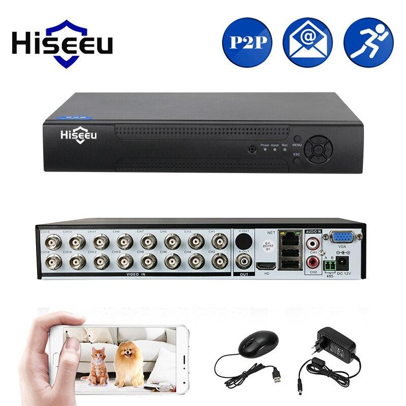 Hiseeu 16CH 5in1 AHD DVR Поддержка CVBS TVI CVI AHD IP камера 3 м 5 м NVR P2P H.264 VGA видеомагнитофон HDMI аудио видеонаблюдения DVR