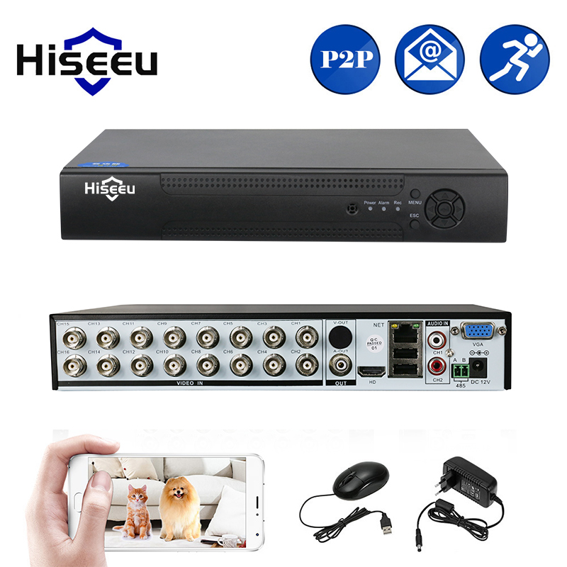 Hiseeu 16CH 5in1 AHD DVR support CVBS TVI CVI AHD IP Camera 3M 5M NVR P2P H.264 VGA HDMI video recorder Audio CCTV Security DVR